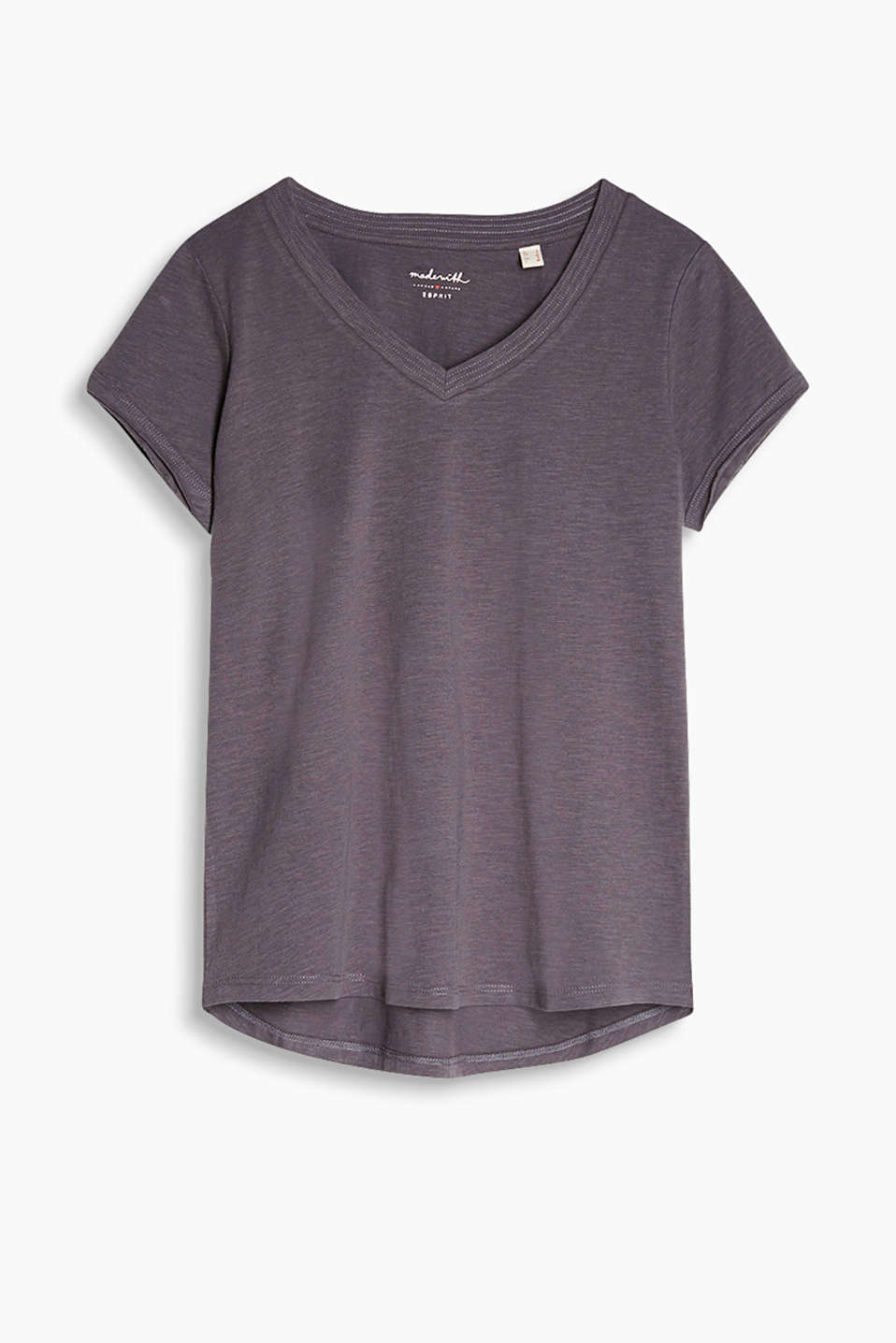 Airy slub jersey T-shirt with a fine texture and generous V-neck, 100% cotton