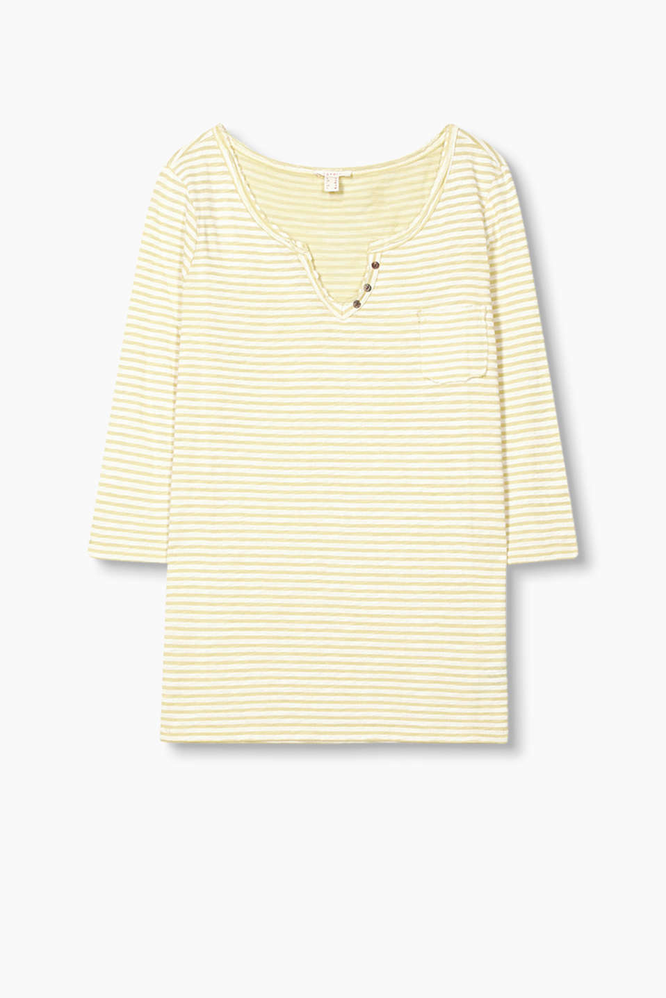 with a Henley neckline, all-over stripes and unfinished edges