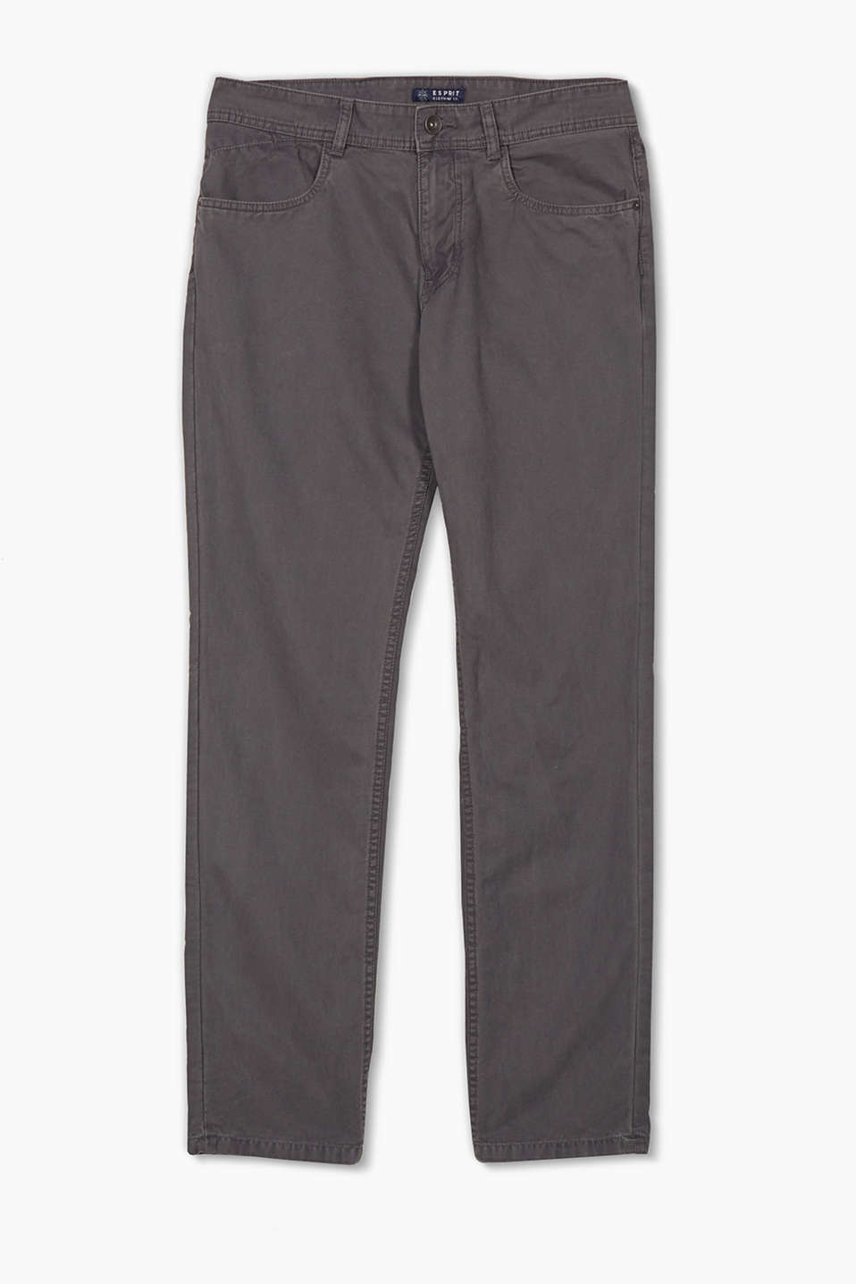 Five-pocket cotton twill trousers with a zip