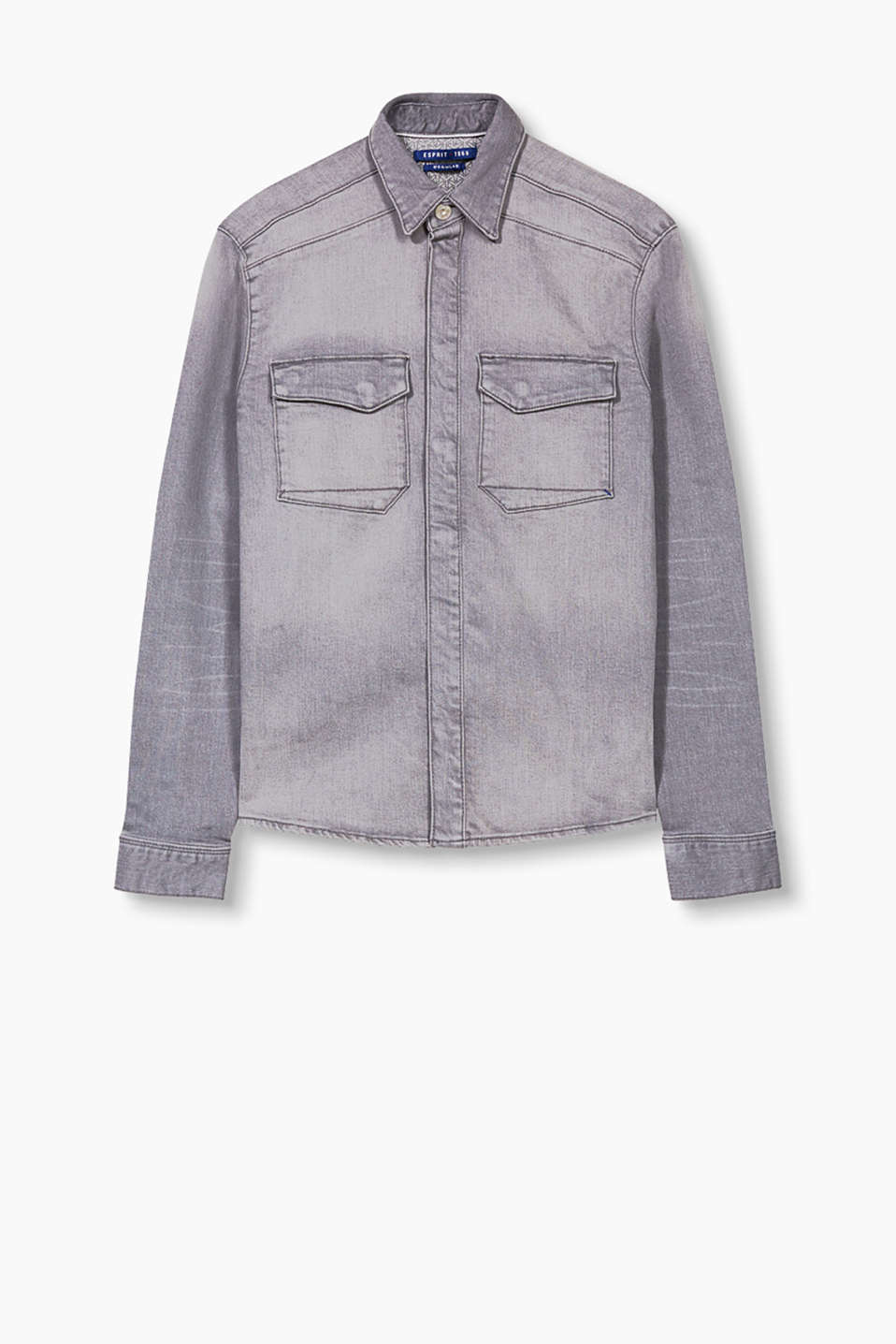 Shirt or jacket substitute: robust denim shirt with a fly front and authentic washed effects
