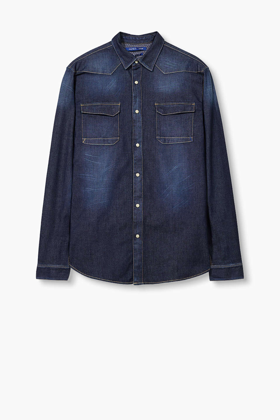 Classic denim style: robust shirt jacket in stretch denim with patch breast pockets