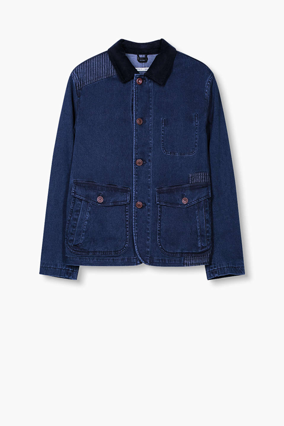 Cool mix of materials: Cotton denim jacket with pinstripe details and a corduroy collar