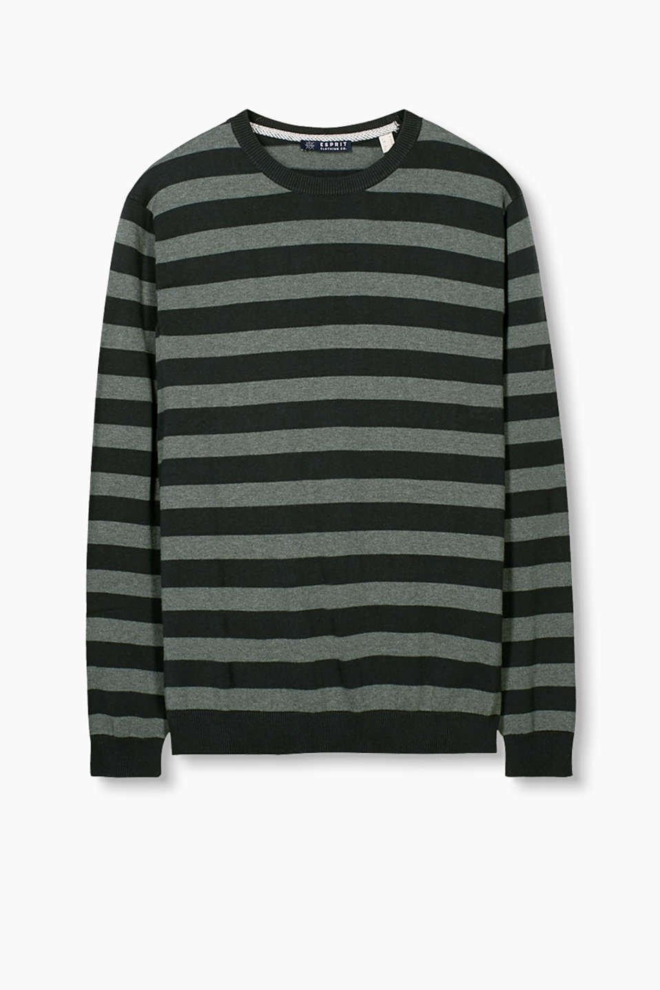Soft cotton jumper with wide block stripes