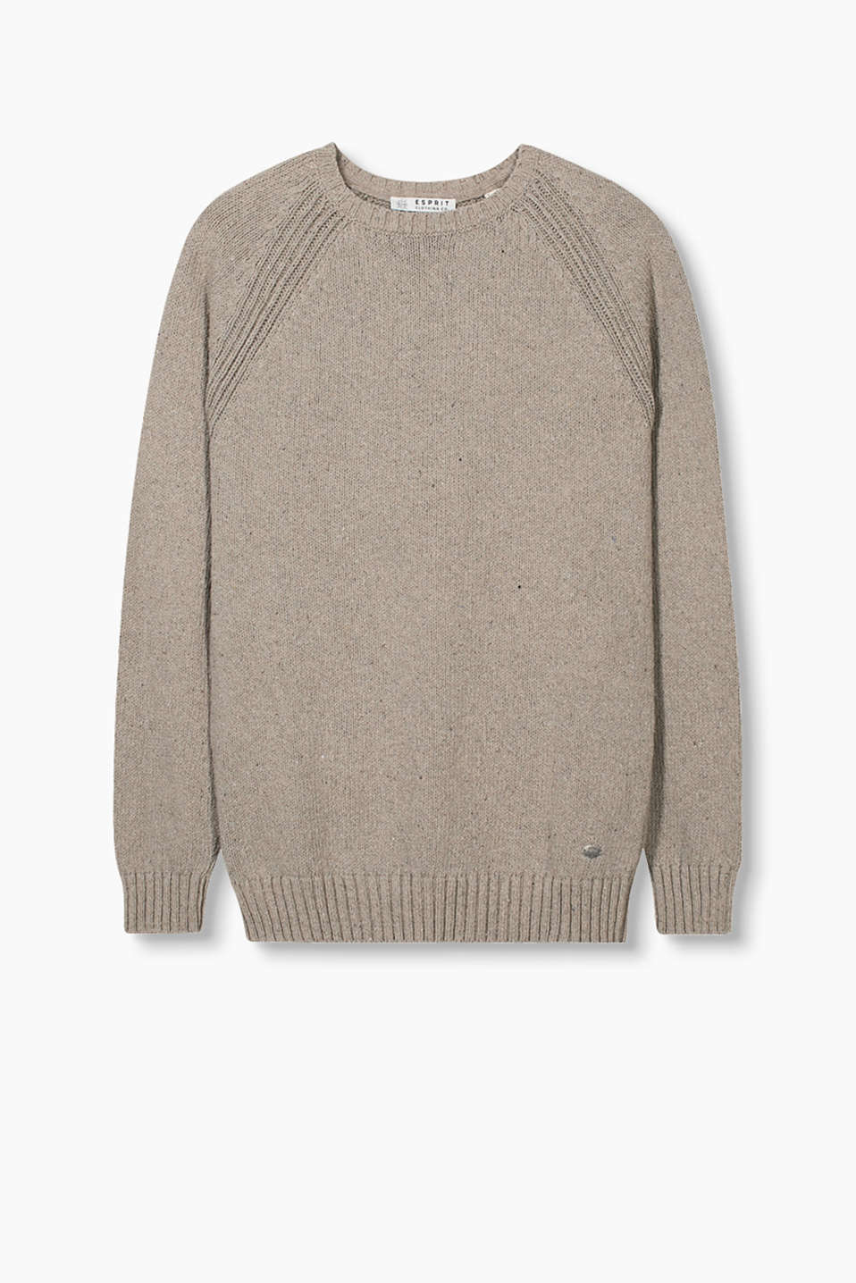 Chunky knit jumper in recycled cotton with raglan sleeves