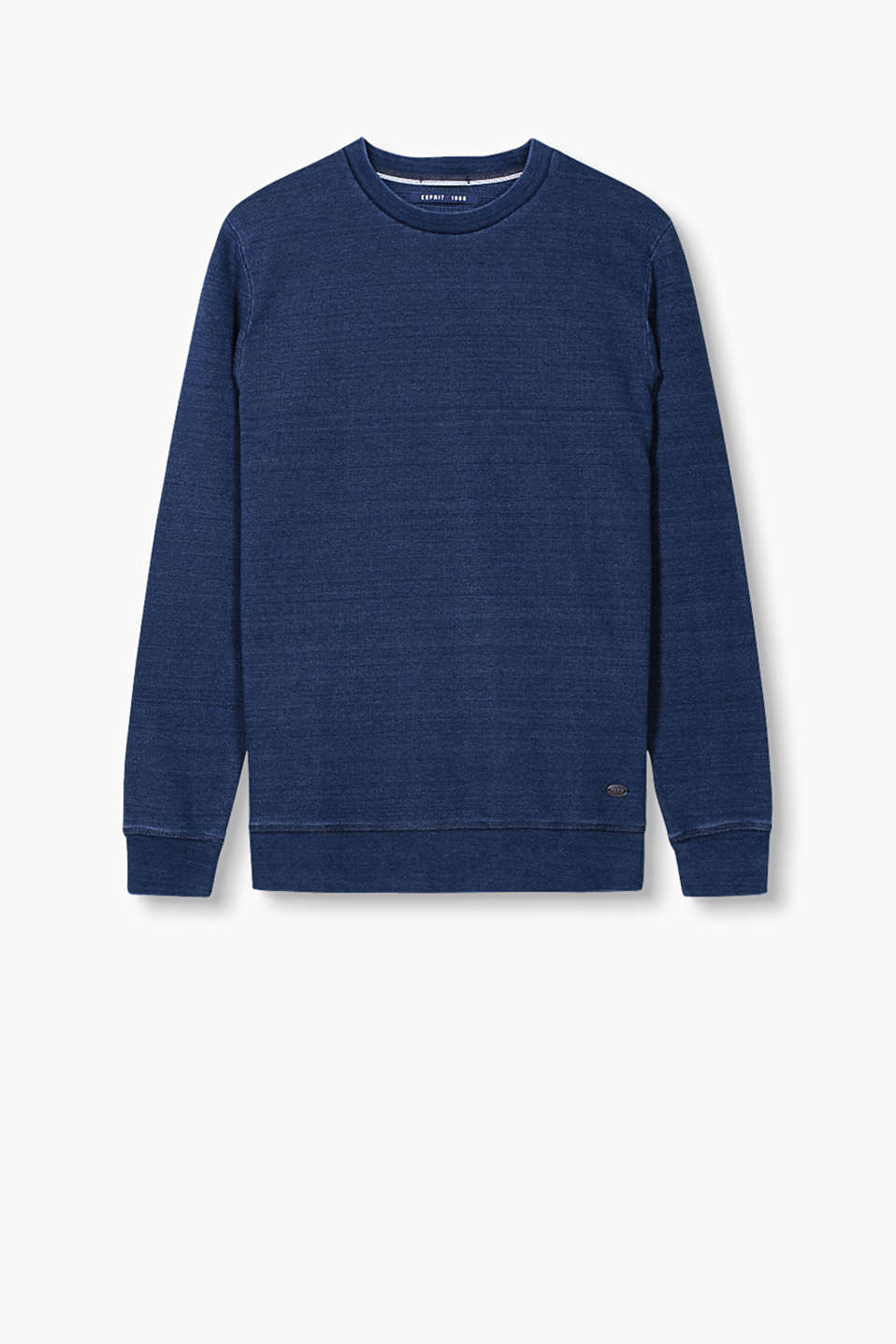 Sweatshirt in robust cotton piqué with a garment-washed finish for your urban style