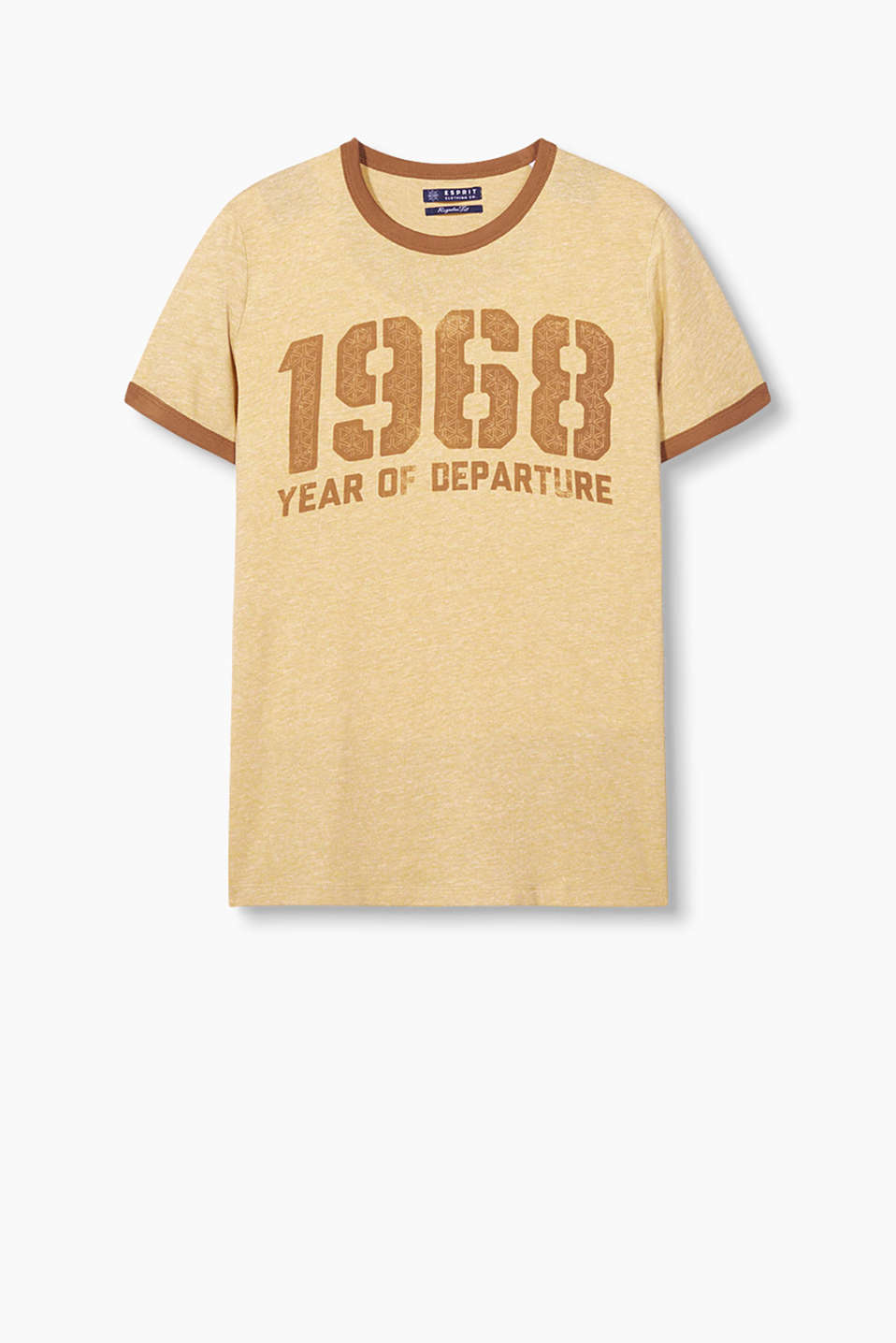 In a retro look: T-shirt with colour-contrasting edges and a print, made of soft blended cotton