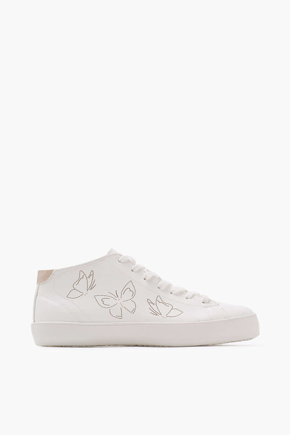 High-top trainers with inside leg zips and a feminine, stamped-out butterfly pattern