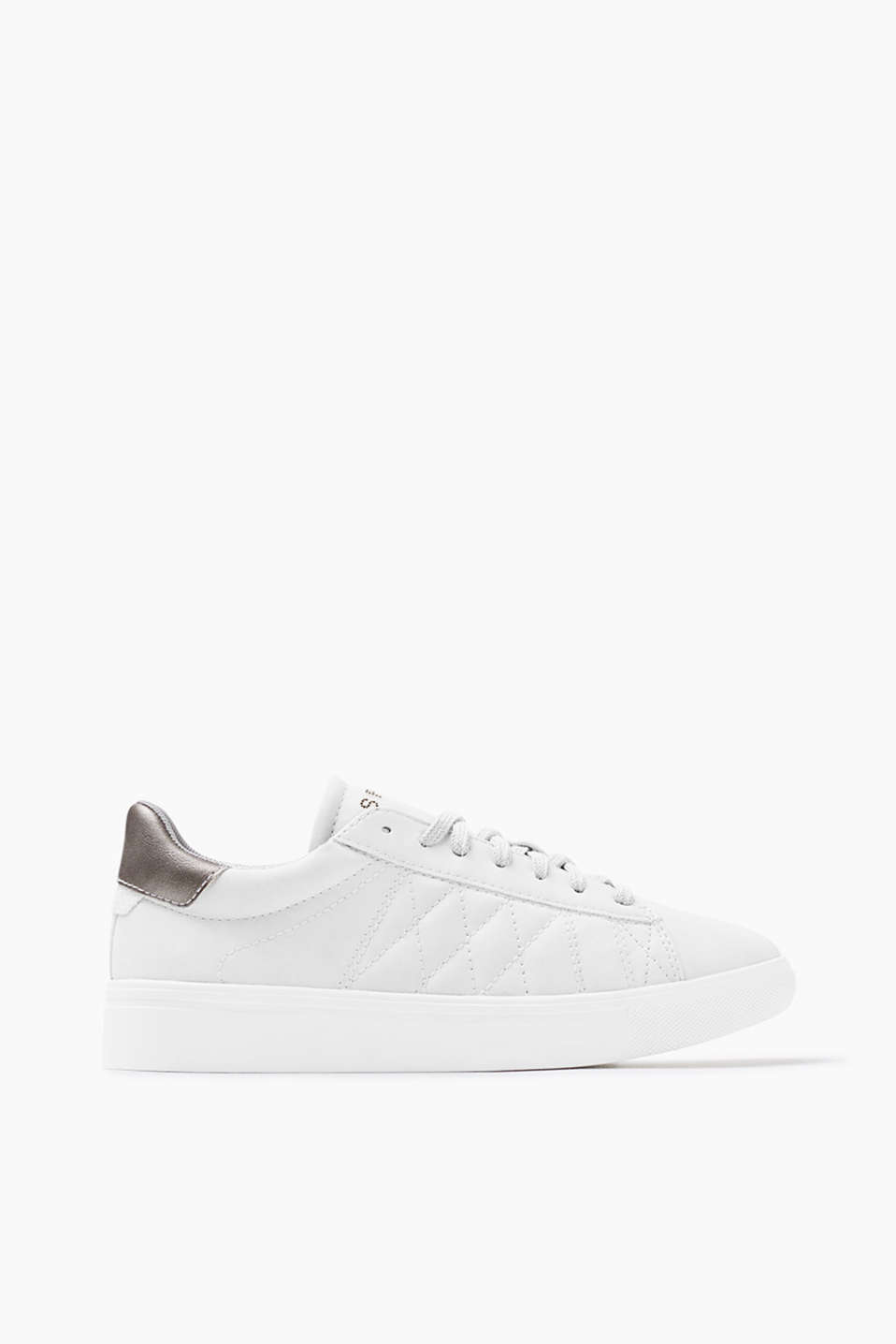 In soft imitation suede: lace-up trainers with a metallic trim