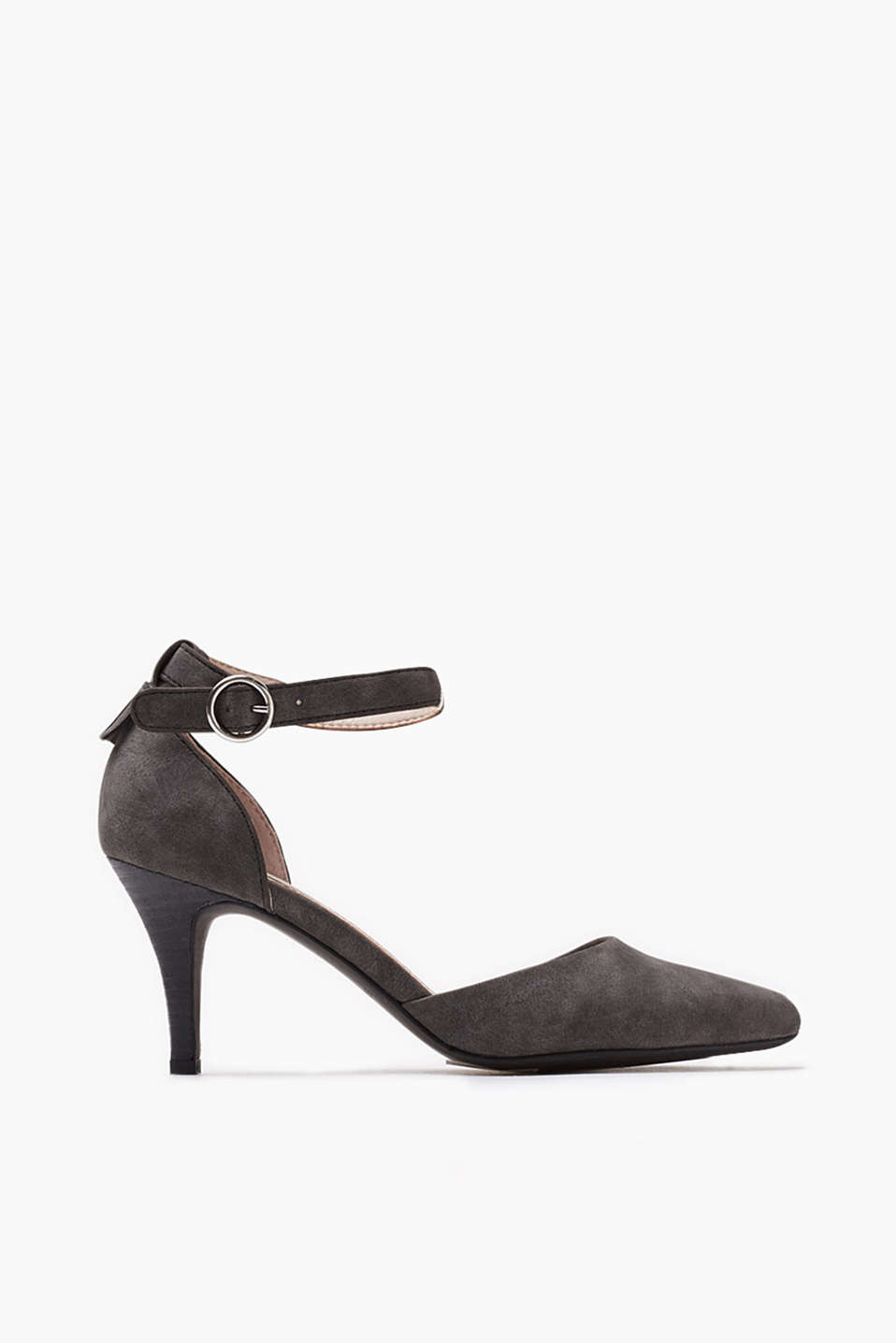 Court shoes with wide ankle straps in imitation nubuck (heel: 7.5 cm)