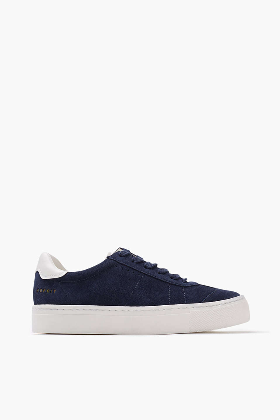 In a retro look: Lace-up trainers with a rubber sole, in suede