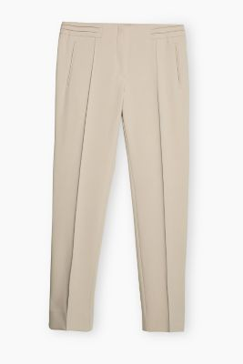 Ankle-length stretch trousers with pintucks