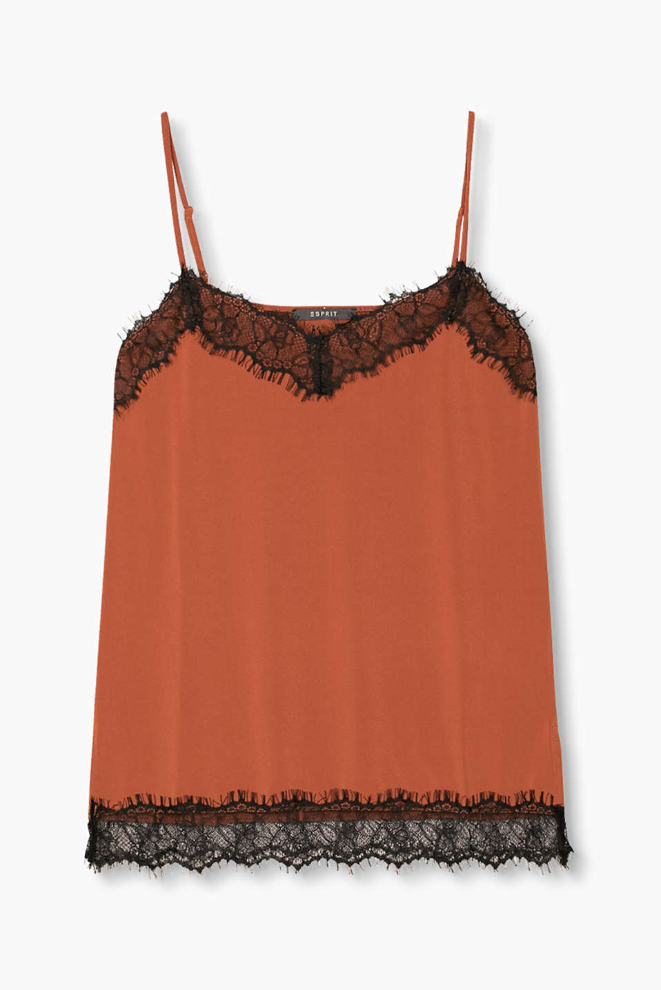 Spaghetti strap top in softly draped crêpe with a percentage of stretch, enhanced with lace