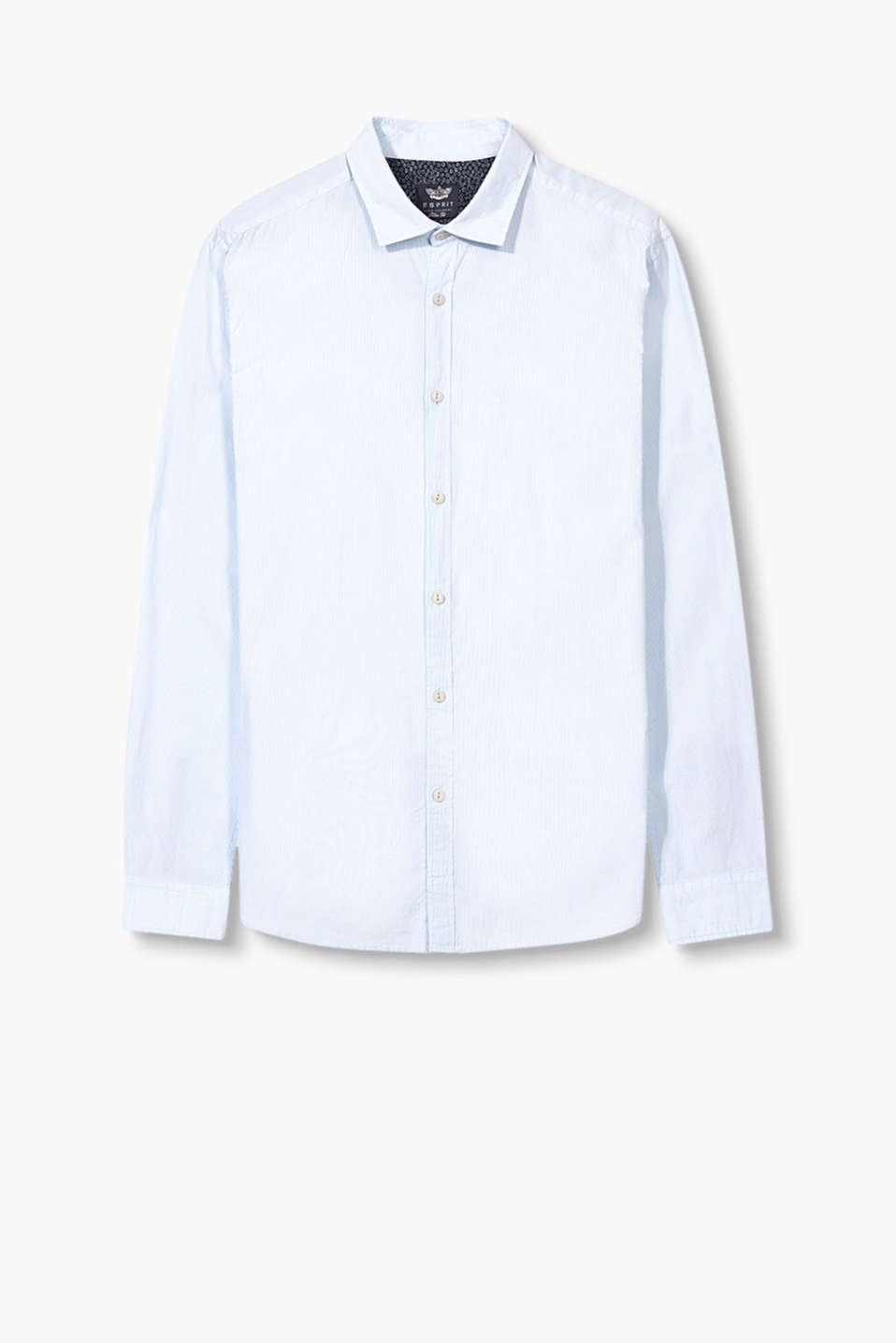 Shirt in fine cotton with a fine striped print and shark collar