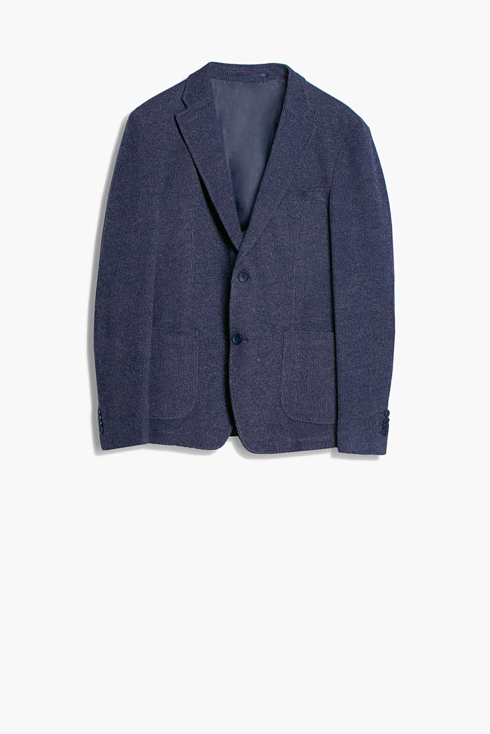 Blazer with elbow patches and a wavy knit texture