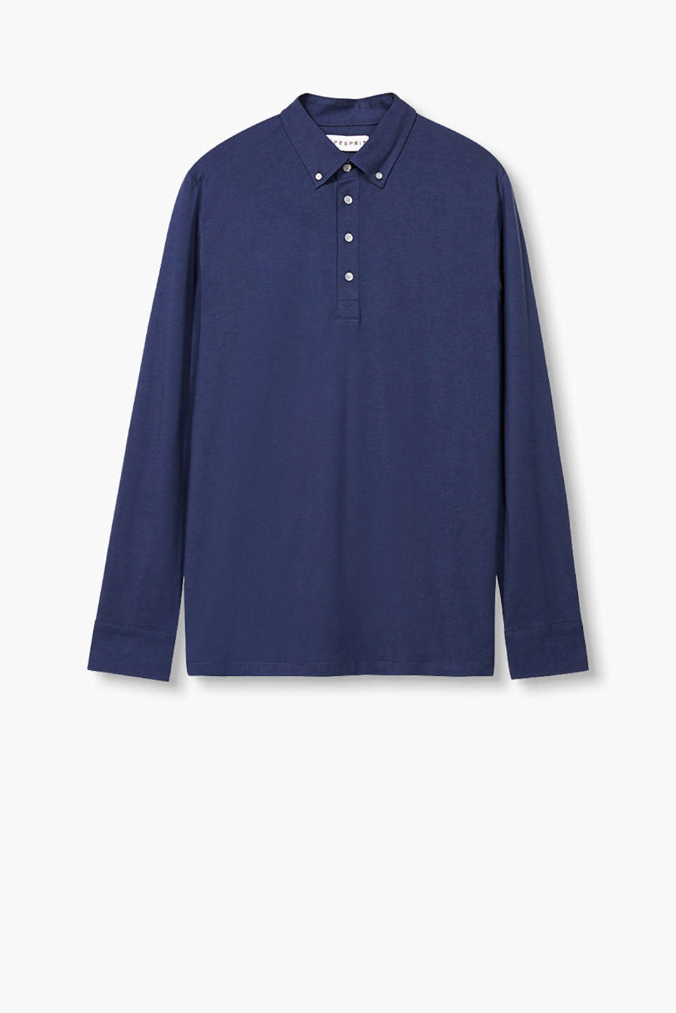 Long sleeve polo shirt in pure cotton with a button-fastening collar