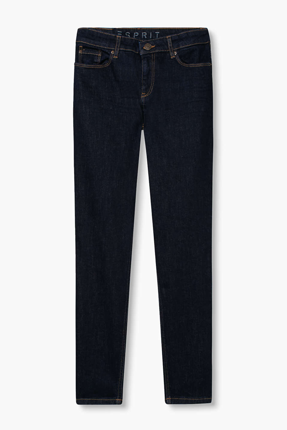Fashionably cropped five-pocket jeans in comfortable stretch cotton