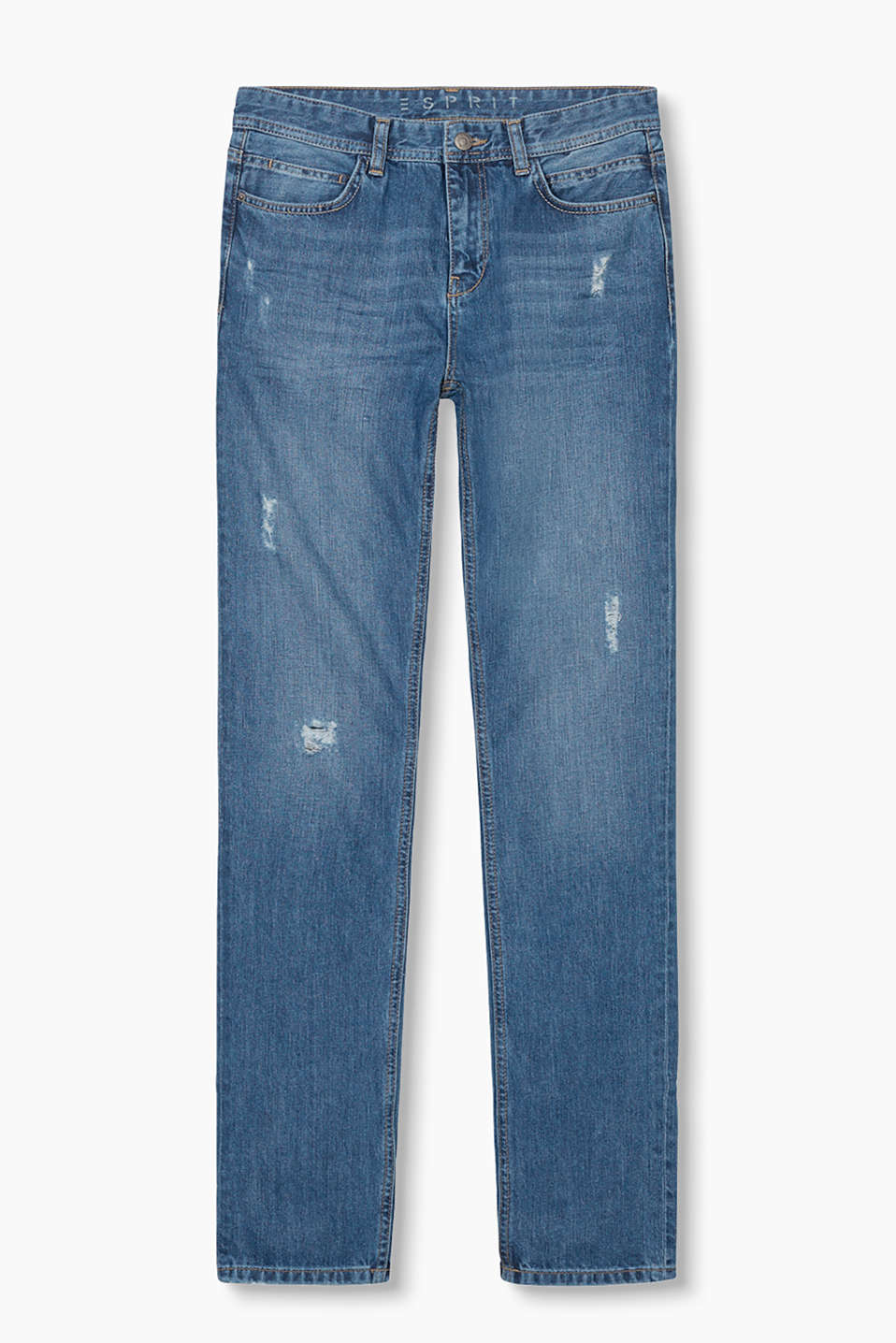 Relaxed five-pocket jeans in a trendy distressed look
