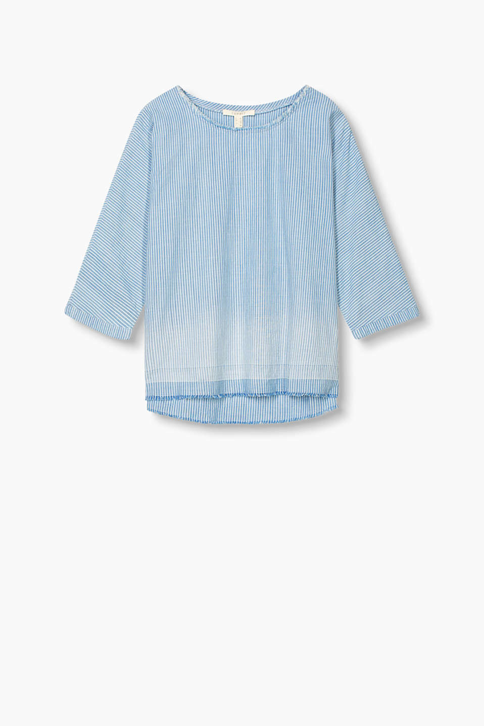 Figure-skimming cotton blouse with fringing and three-quarter length sleeves