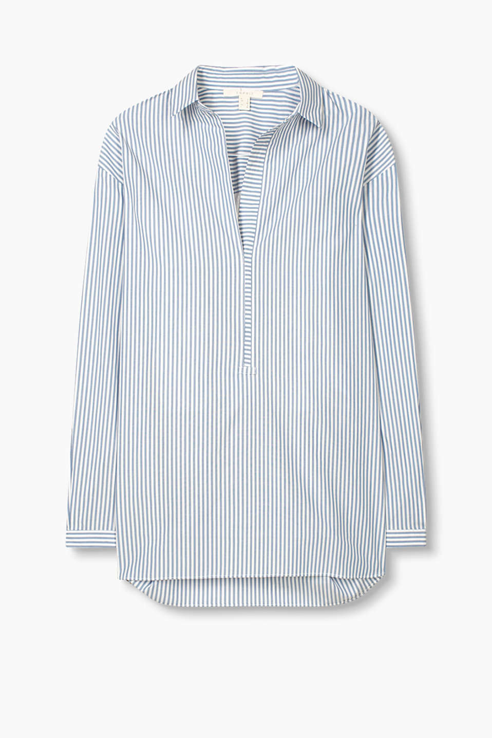 Shirt blouse in striped cotton poplin with openwork lace on the back