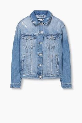 Distressed denim jacket, 100% cotton
