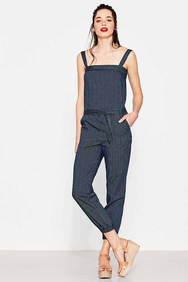 Esprit / Striped jumpsuit made of 100% cotton