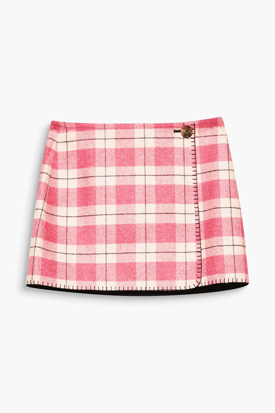 Inspired by iconic Esprit styles from the 80s and 90s: Short wrap-over skirt in blended wool with a stylish check pattern.