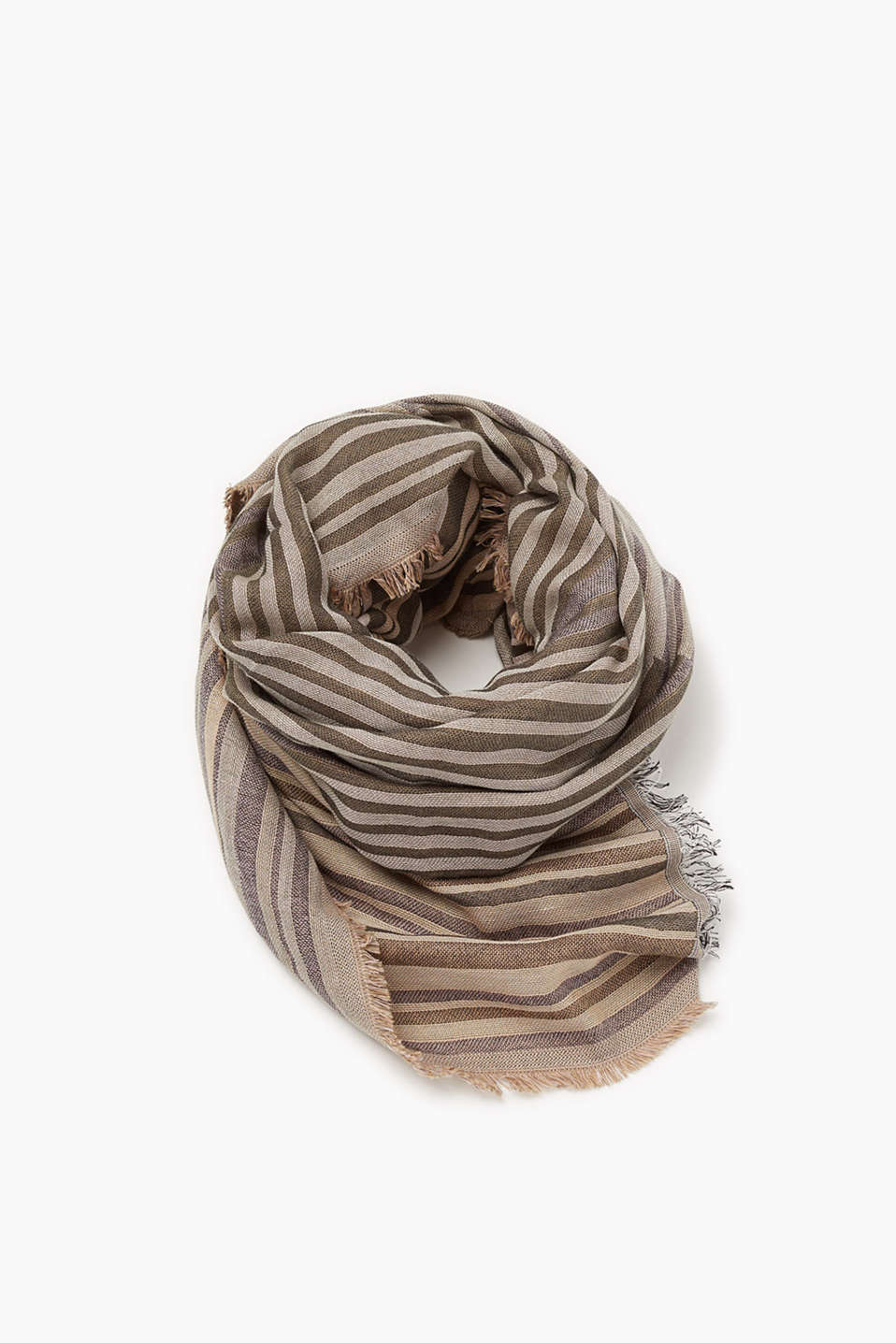 Double face cotton scarf with fine fringing