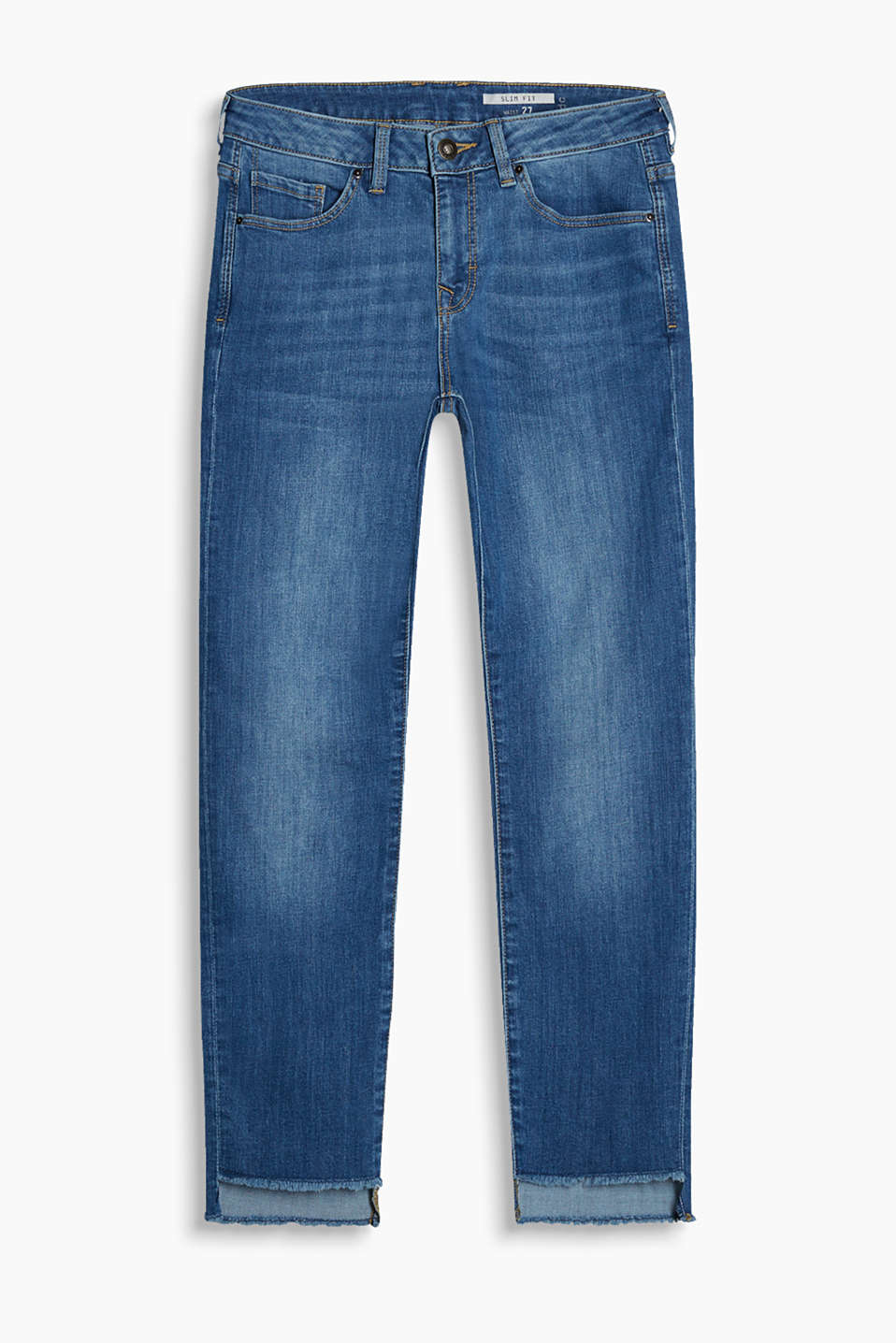 Cropped stretch jeans with elaborately finished hems in an authentic wash