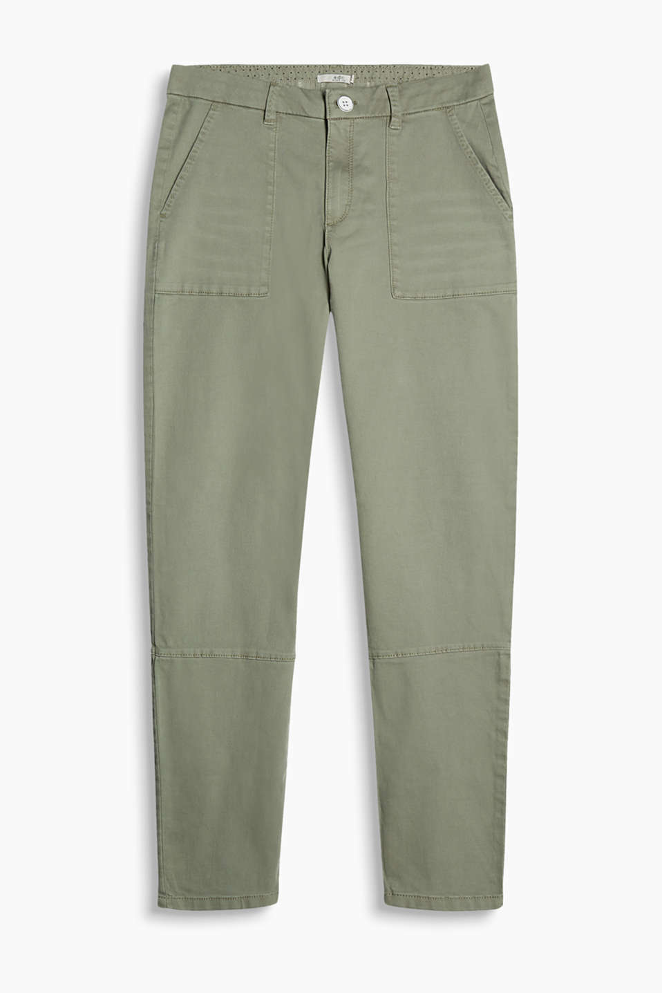 Chinos in a garment-washed cotton blend with worker-style patch pockets