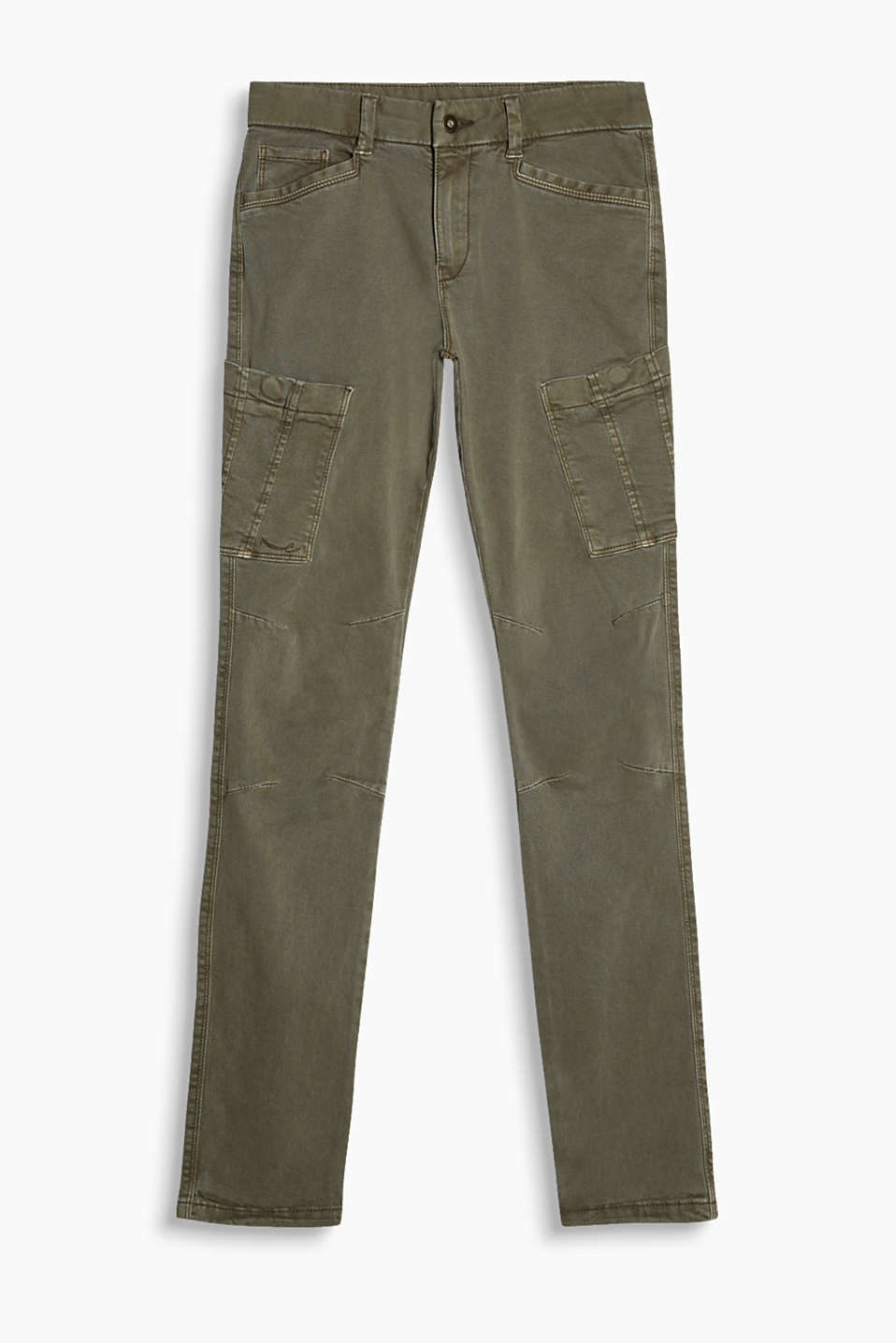 Drainpipe trousers with patch pockets in blended cotton with added stretch for comfort.