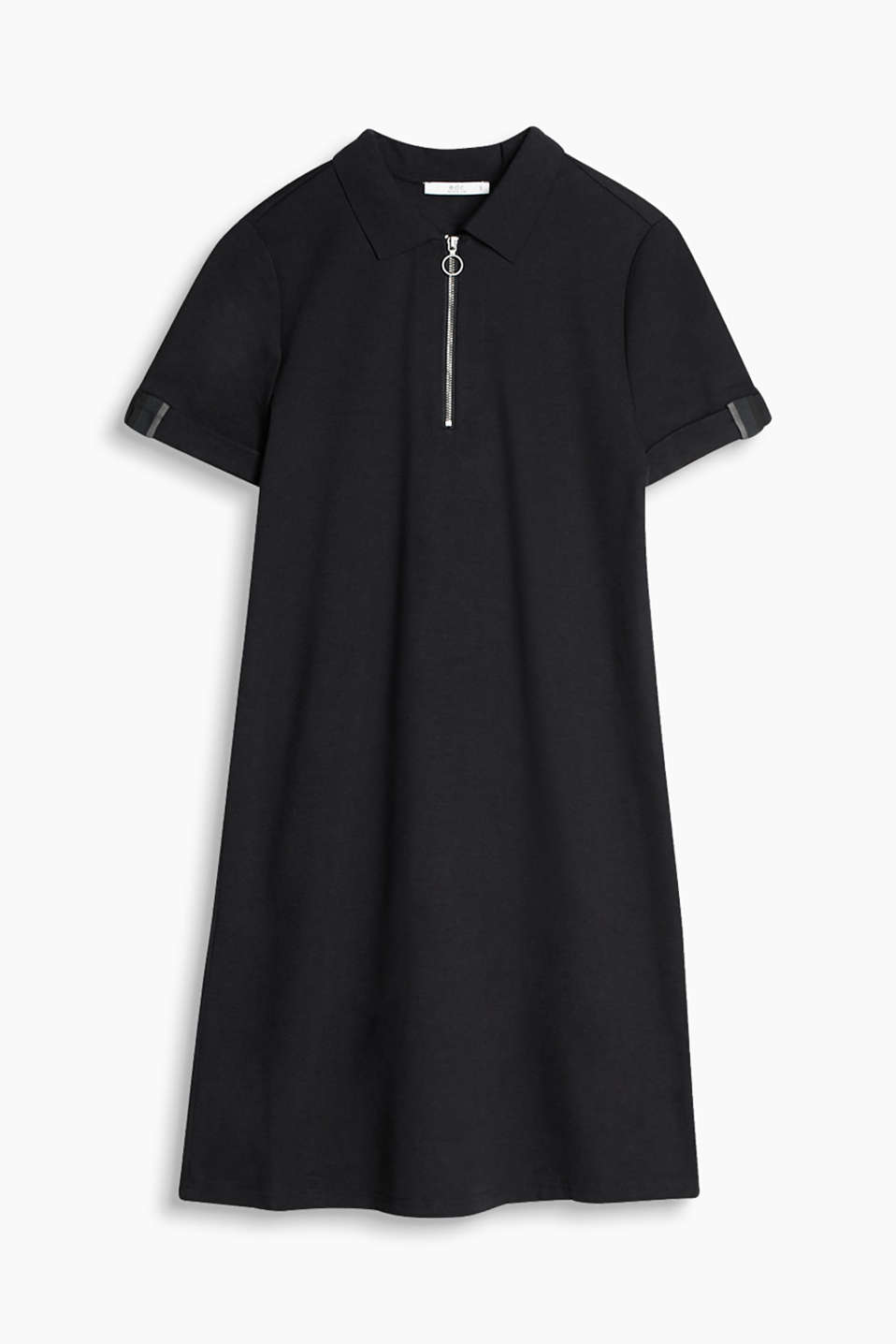 Polo dress in a soft fabric blend with a zip