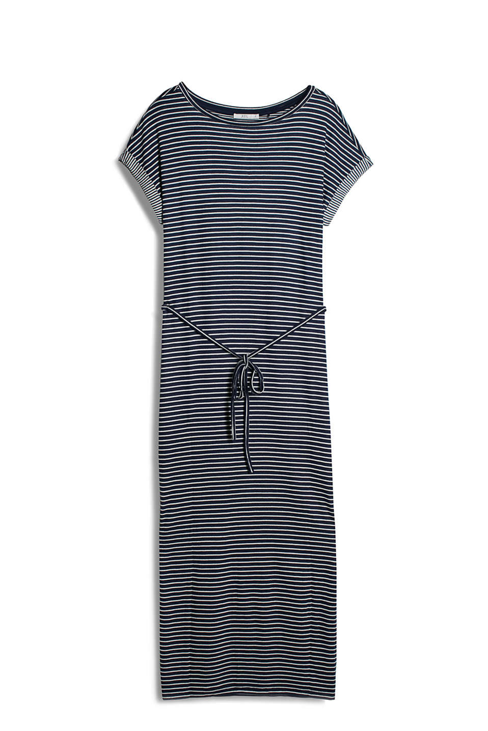 with all-over stripes, tie belt and high hem slits