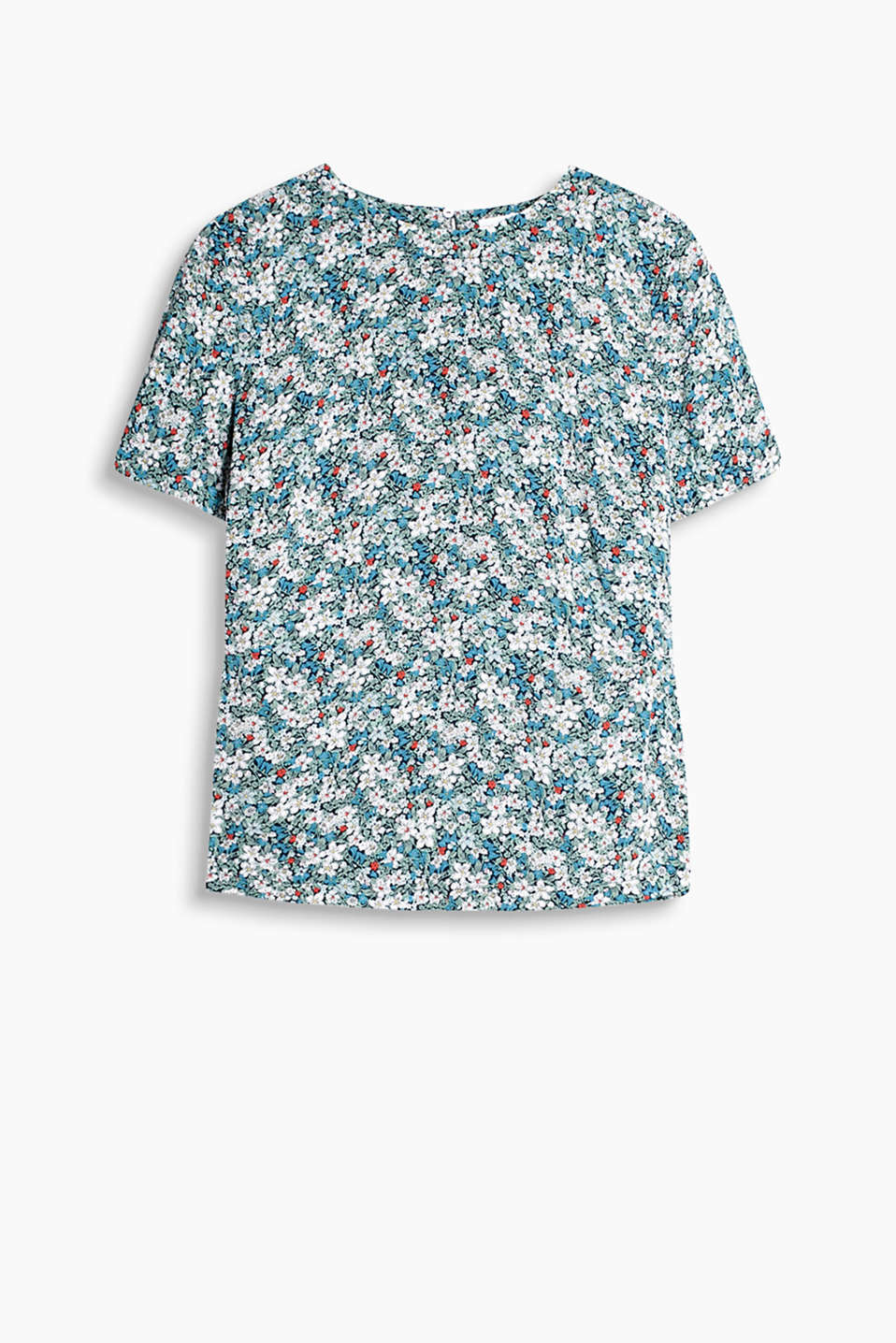 Printed with an abundance of summery flowers: blouse in a short sleeve T-shirt design