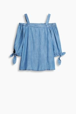 Off-Shoulder-Bluse im Denim-Look