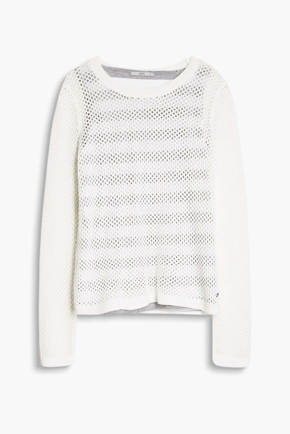 Fashionable layered style: Jumper in a see-through openwork design with a vest made of striped jersey