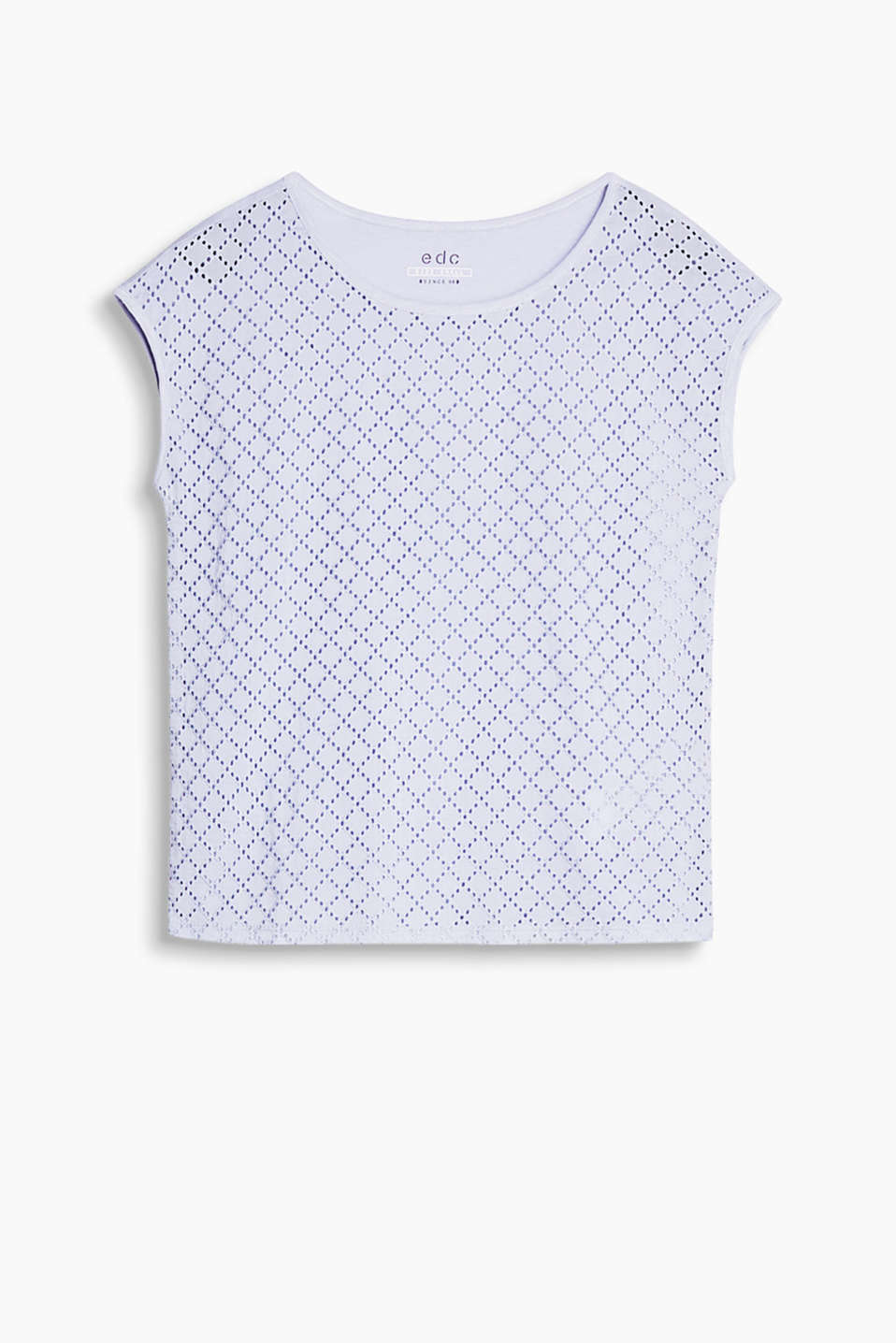 A front in broderie anglaise gives this top its casual, feminine look