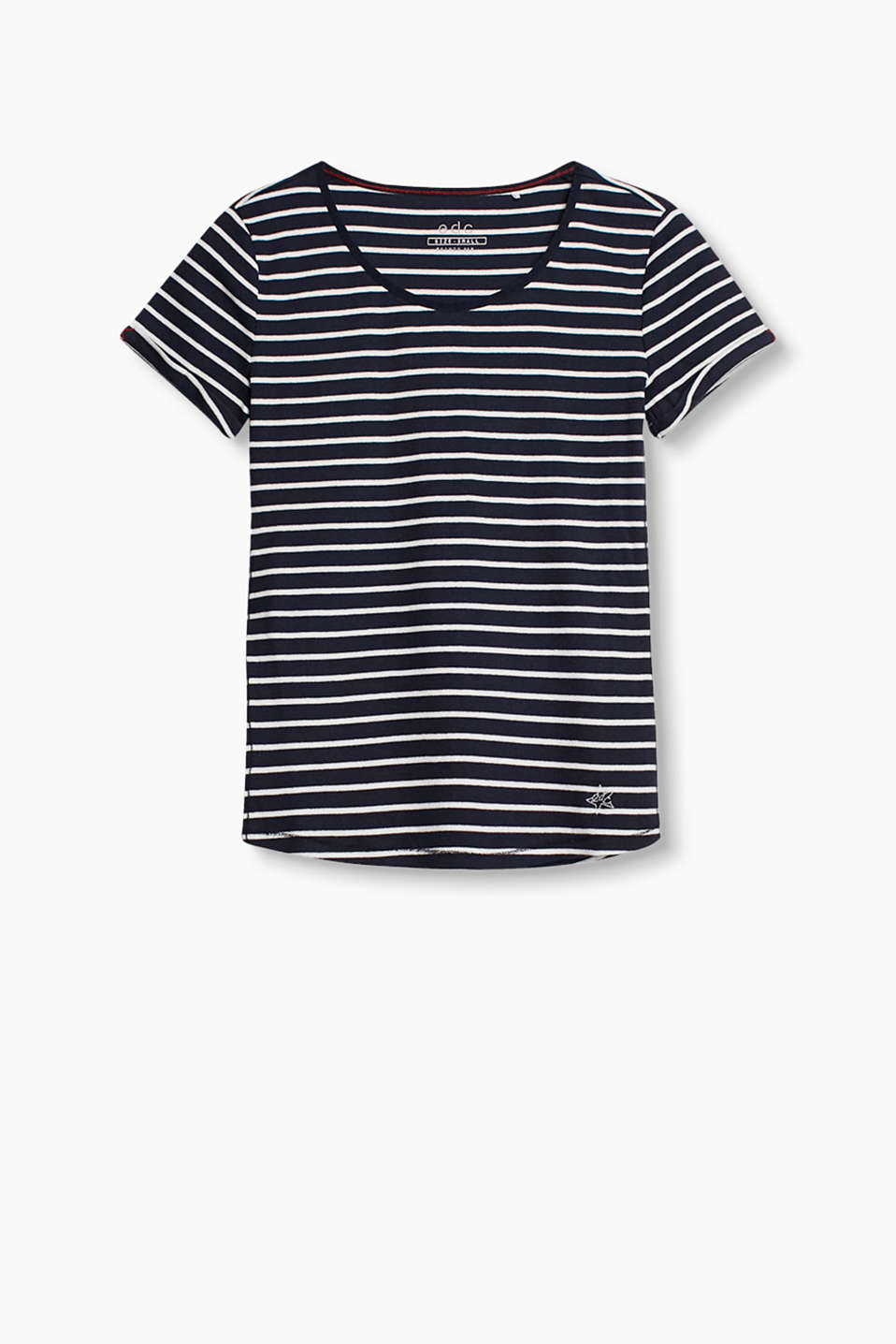 with an all-over striped pattern and fixed turn-up sleeves
