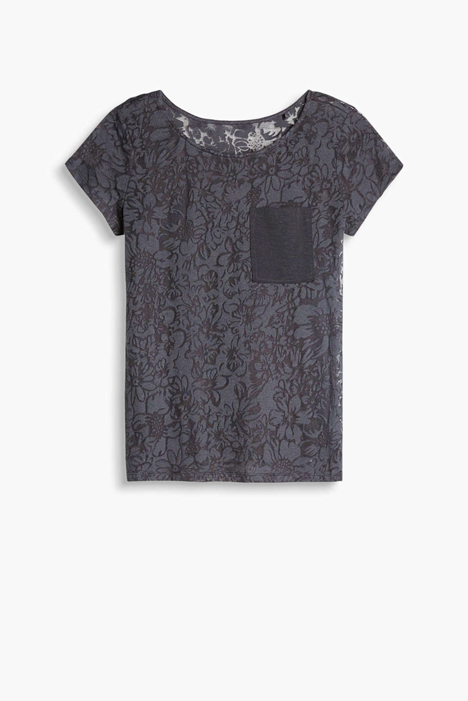 2-in-1: floral lace T-shirt with an inner top in a perfectly coordinating colour