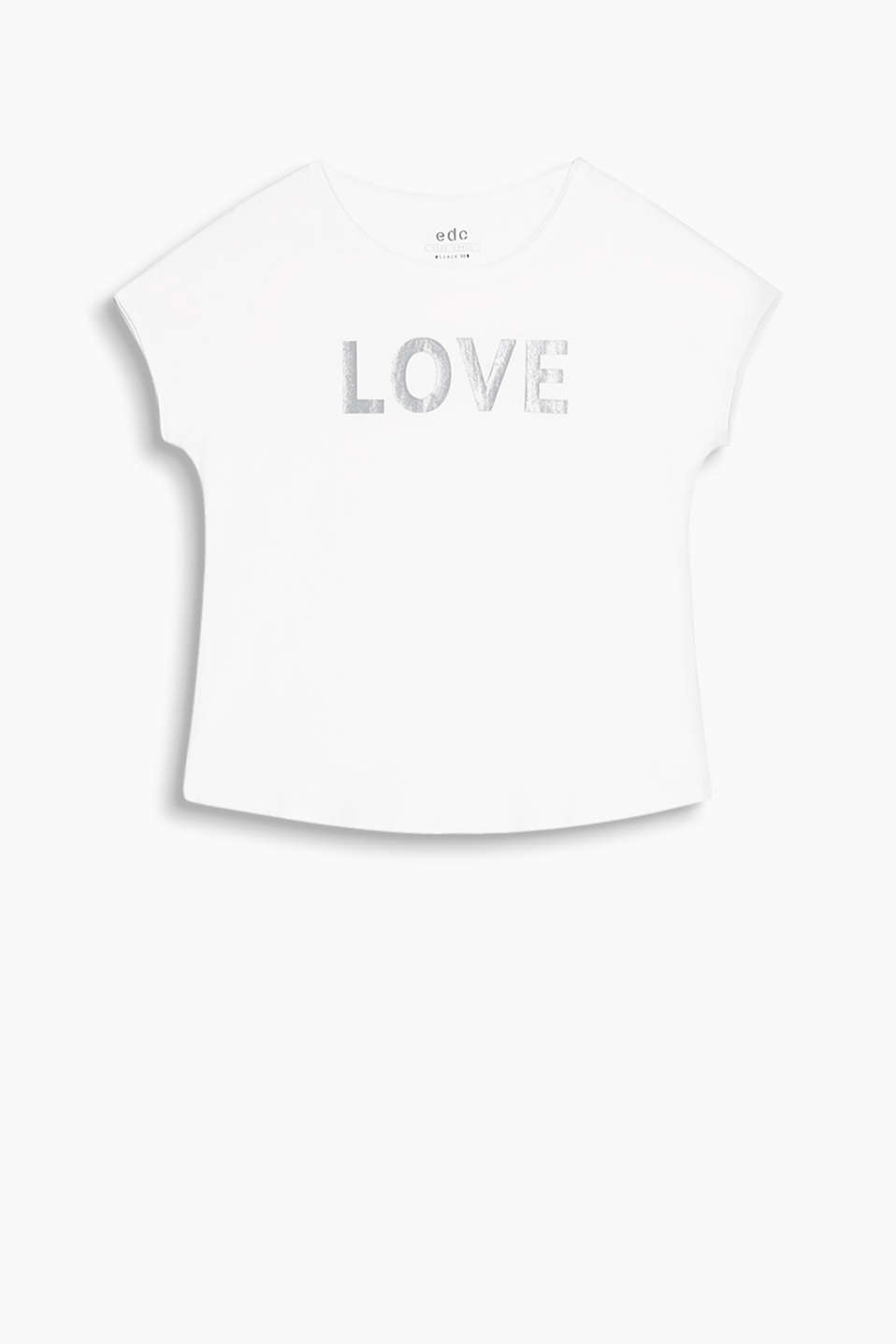 Loose T-shirt in soft cotton jersey with a LOVE print and rolled edges