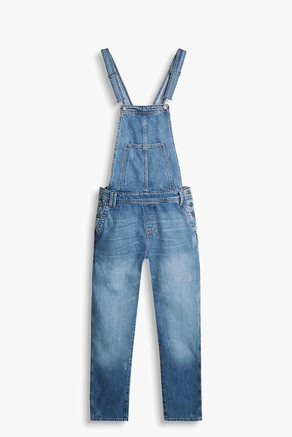 Distressed denim dungarees with fashionably cropped legs