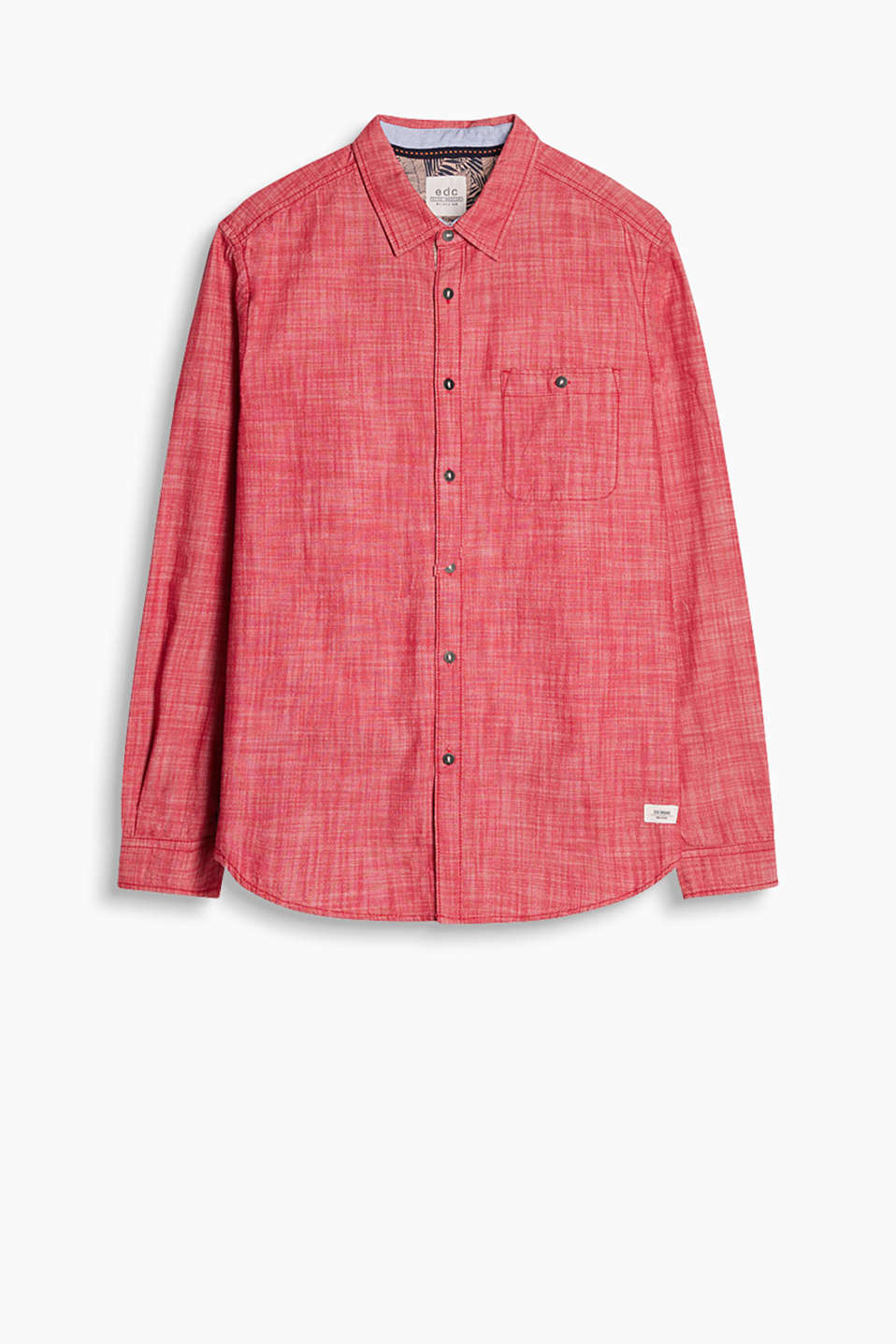 Shirt in firm cotton chambray with a button-down breast pocket