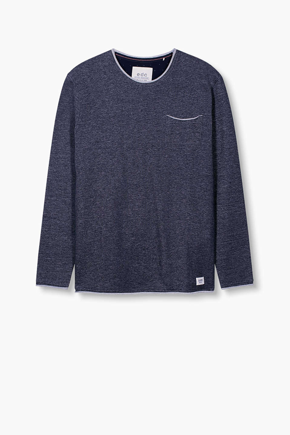 Sweatshirt with breast pocket and rolled edges in a melange look