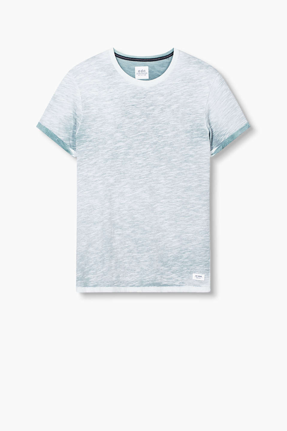 En coton mélangé finement chiné : le t-shirt à encolure ronde