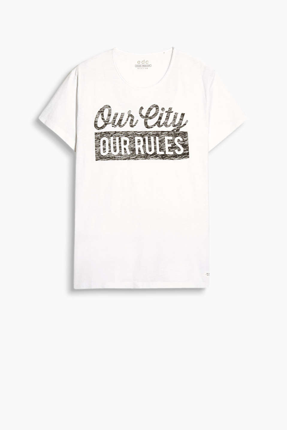 T-shirt with printed lettering, in 100% cotton