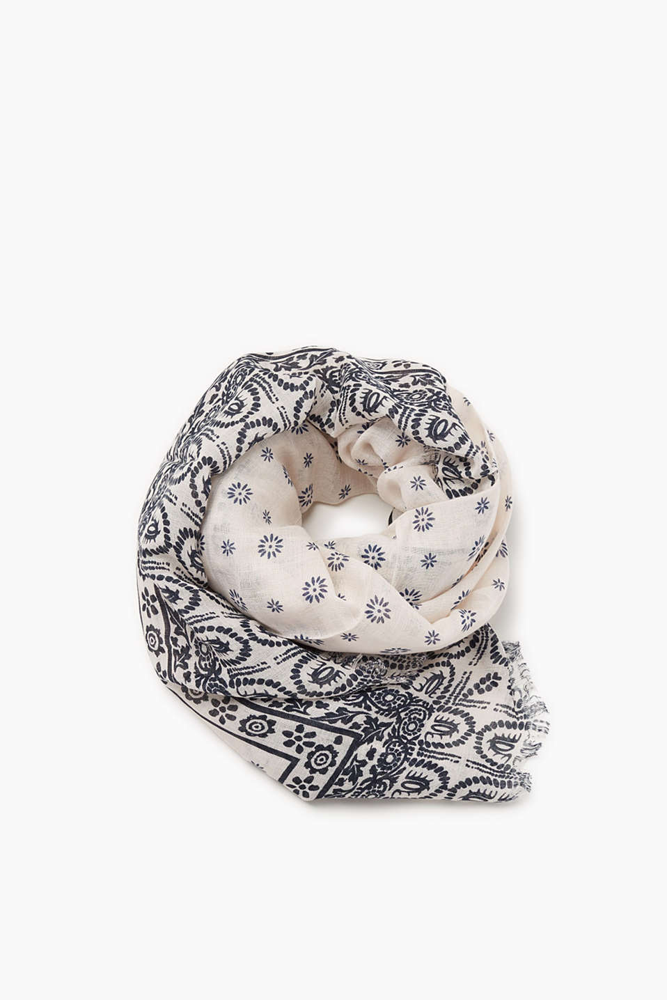 Lightweight scarf in blended linen with an indigo pattern