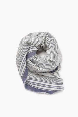 Striped scarf in a cotton/linen blend
