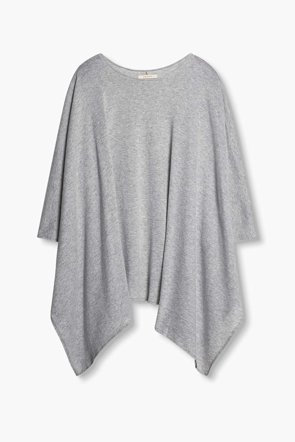 Poncho with a round neckline, made of soft jersey