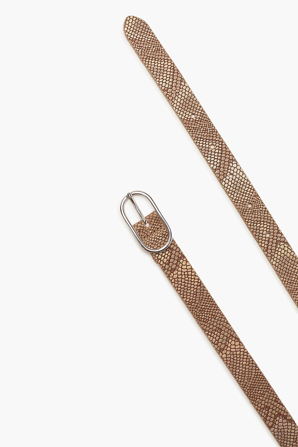 Narrow belt with a metallic, reptile pattern