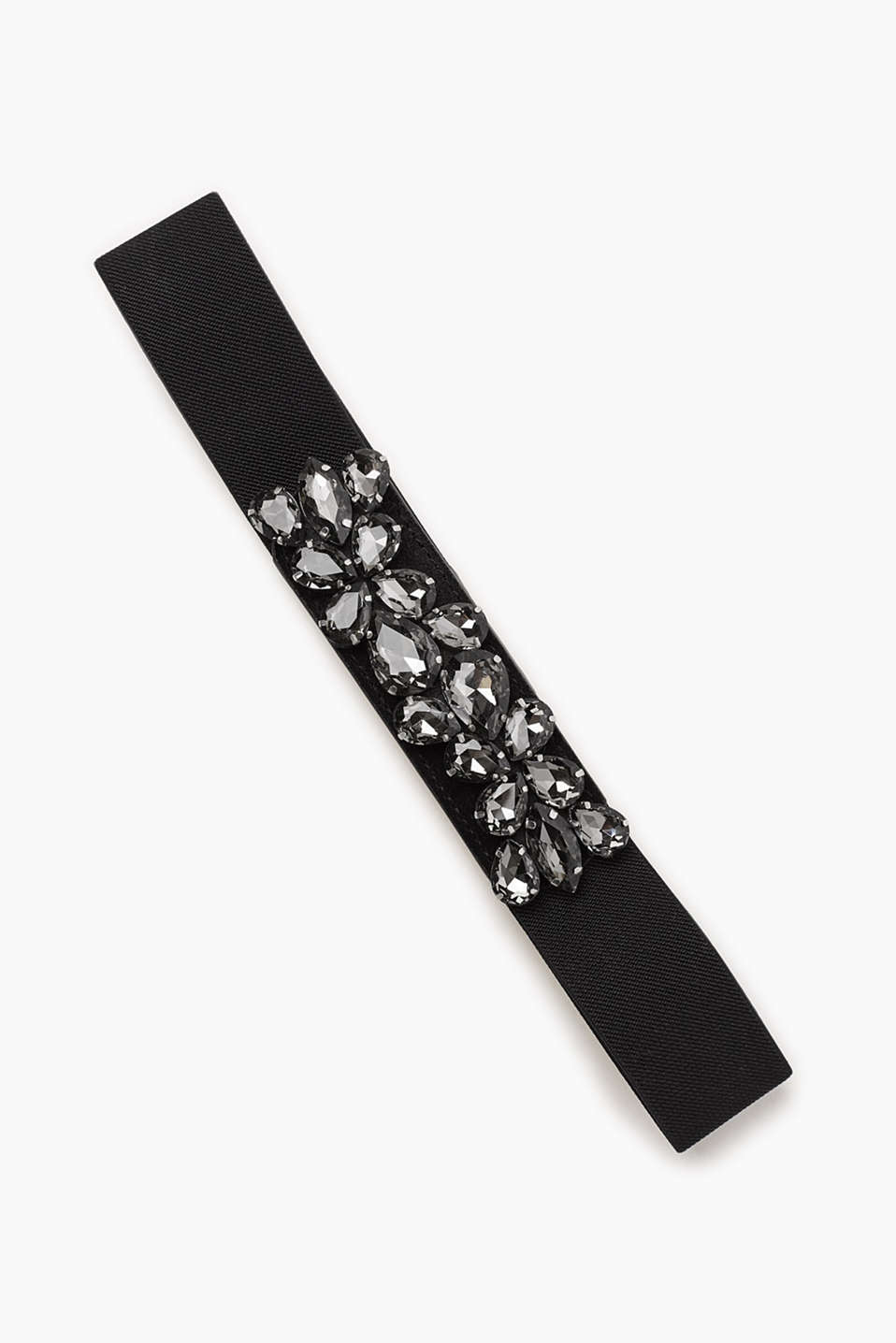 For your glamour look: stretchy belt with facet-cut stones