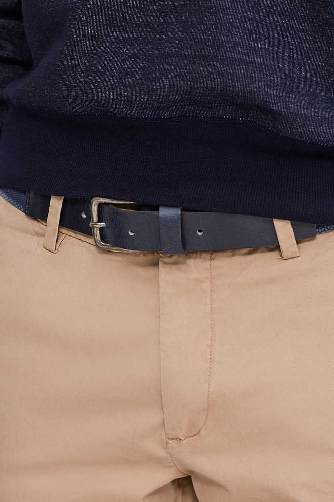 Esprit / Woven belt with a leather trim